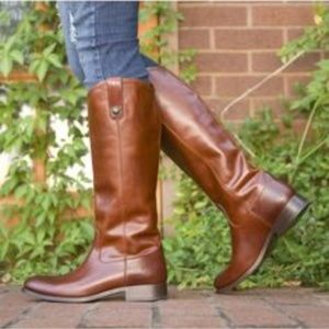 Frye Melissa Tall Boots Cognac size 8.5 like NEW